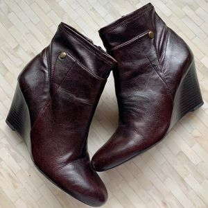 Franco Sarto leather wedge heel booties ankle boot